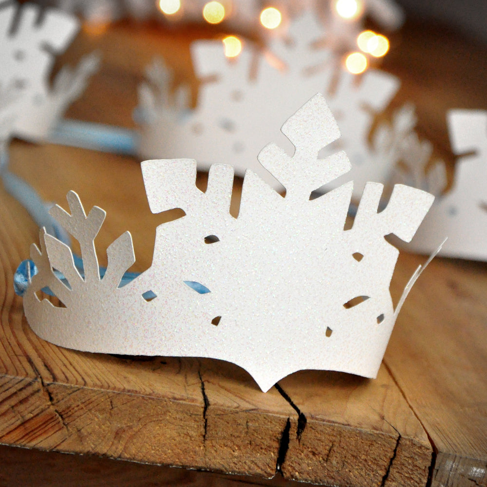 Frozen Party Favor Crowns. Made in 1-3 Business Days.  Winter Party Favors. Winter Onederland Decor. White and Baby Blue Snowflake Crowns.