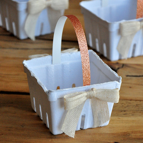 Mini Easter Baskets (5CT). One Pint White Basket with Jute Bows. Rose Gold Spring Baby Shower Favor Ideas.