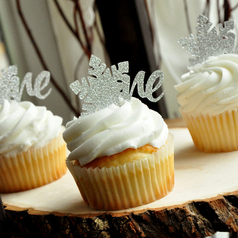 Winter ONEderland Cupcake Topper (12 pack). Winter ONEderland Decoration. Snowflake Cupcake Topper. Number 1 Cupcake Topper.
