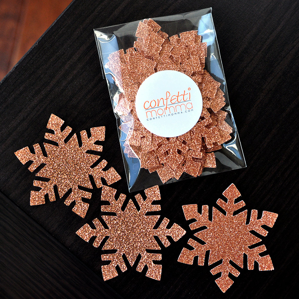 Winter Onederland Party Supplies. Handcrafted in 1-3 Business Days.  Large Snowflake Confetti 20CT. Rose Gold Snowflake Confetti.
