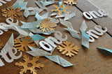 "Winter Onederland Party Decorations. Ships in 1-3 Business Days. Baby Blue and Gold Party Decorations. ""One"" and Snowflake Confetti Mix."