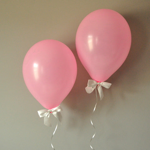 Winter Onederland Party Balloons.  Ships in 1-3 Business Days.  Baby Pink Balloons with White Bows 8CT + Curling Ribbon.