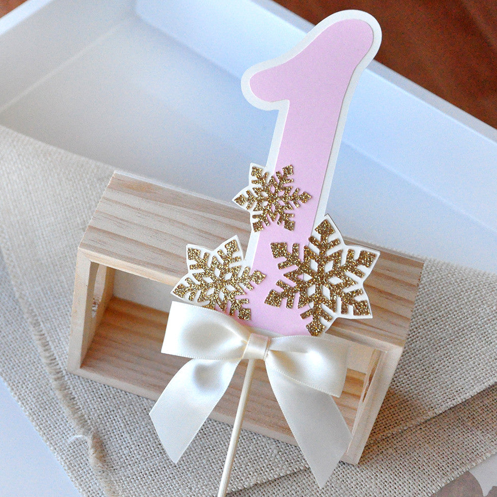 Pink and Gold Birthday Decorations.  Ships in 1-3 Business Days.  Winter Onederland Cake Topper.
