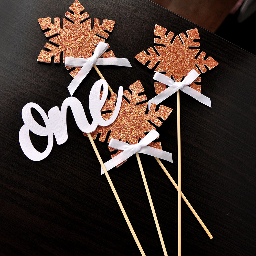 Winter Onederland Decoration Centerpiece in Rose Gold (4 Piece Set). Ships in 1-3 Business Days. Winter Onederland. 1st Birthday Snowflake Decor.