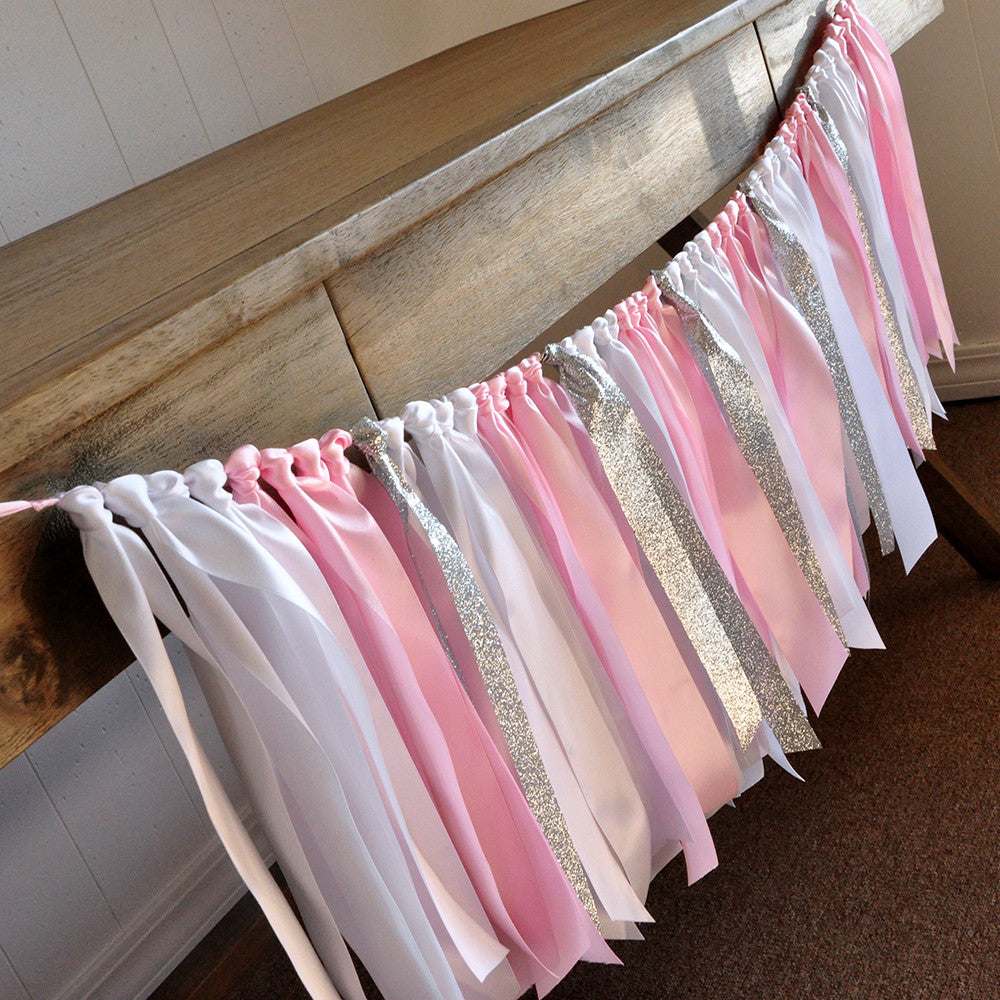 Winter Onederland Party Decorations. Ships in 1-3 Business Days. Baby Pink, White and Glitter Silver Ribbon Garland.