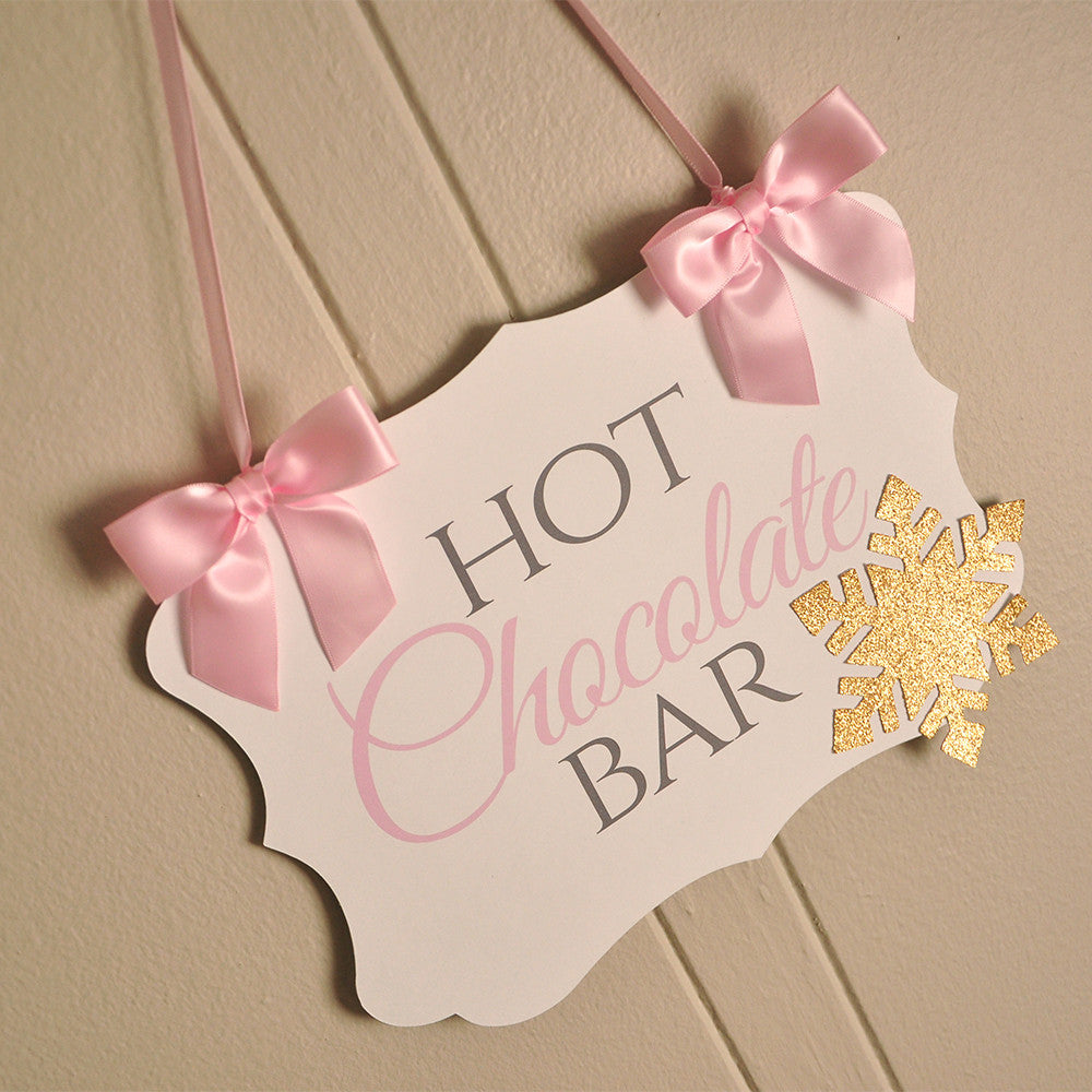 Winter ONEderland Hot Chocolate Banner. Ships in 1-3 Business Days. Pink and Gold Birthday Party Decorations.