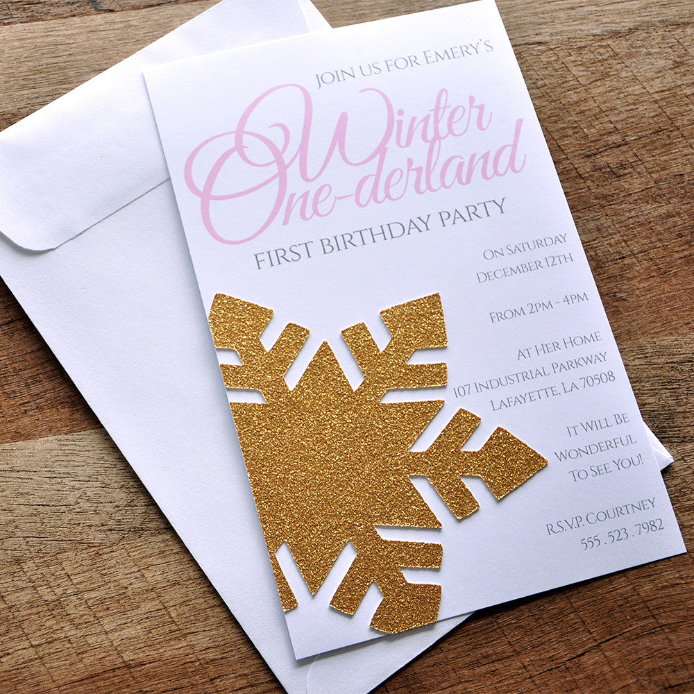 Winter Onederland Invitations and Envelopes. We Print, Cut, Glue and Ship to You in 1-3 Business Days.