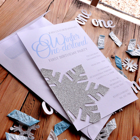 Winter Onederland Invitations and Envelopes in Silver and Baby Blue.  We Print, Cut, Glue and Ship to You in 2-5 Business Days.