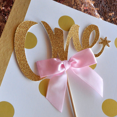 Winter Onederland One Cake Topper. Ships in 1-3 Business Days. 1st Birthday Cake Topper. Pink and Gold Party Decorations.
