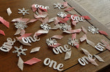 "Winter Onederland Party Decorations. Ships in 1-3 Business Days. Baby Pink, White & Silver Party Decorations. ""One"" and Snowflake Confetti."