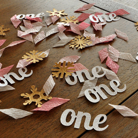 "Winter Onederland Party Decorations. Ships in 1-3 Business Days. Pink and Gold Party Decorations. ""One"" and Snowflake Confetti Mix."