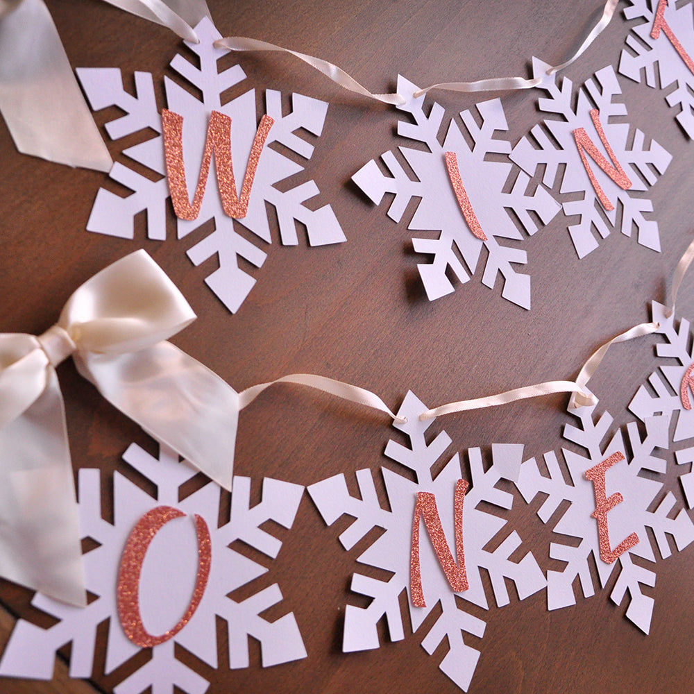 Winter Onederland Snowflake Banner in Ivory and Rose Gold. Made in 1-3 Business Days. Snowflake Birthday Banner. Winter Onederland Decor.