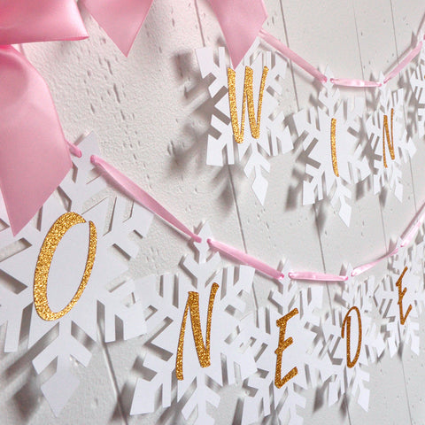Winter Onederland Snowflake Banner in Pink and Gold. Handcrafted in 1-3 Business Days. Pink and Gold Party Decor.