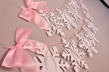 Winter Onederland Snowflake Banner in Pink and Silver.  Handcrafted in 1-3 Business Days.  Pink and Silver Party Decor.