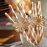 Winter Onederland Snowflake Straws in Rose Gold (QTY 10). Ships in 1-3 Business Days. Confetti Momma Winter Onederland Decoration.