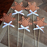 Winter Wonderland Centerpiece (Includes 5 Wands). Ships in 1-3 Business Days. Snowflake Wands in Rose Gold. Winter Onederland Party Decorations.