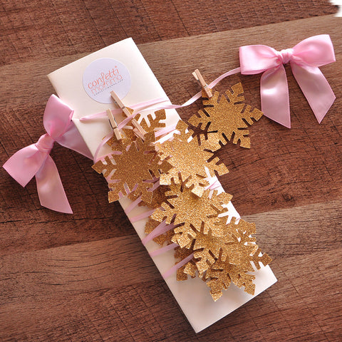 Winter Wonderland Party Decoration. Ships in 1-3 Business Days. Snowflake Banner. Snowflake Garland. Pink and Gold Party Decor.