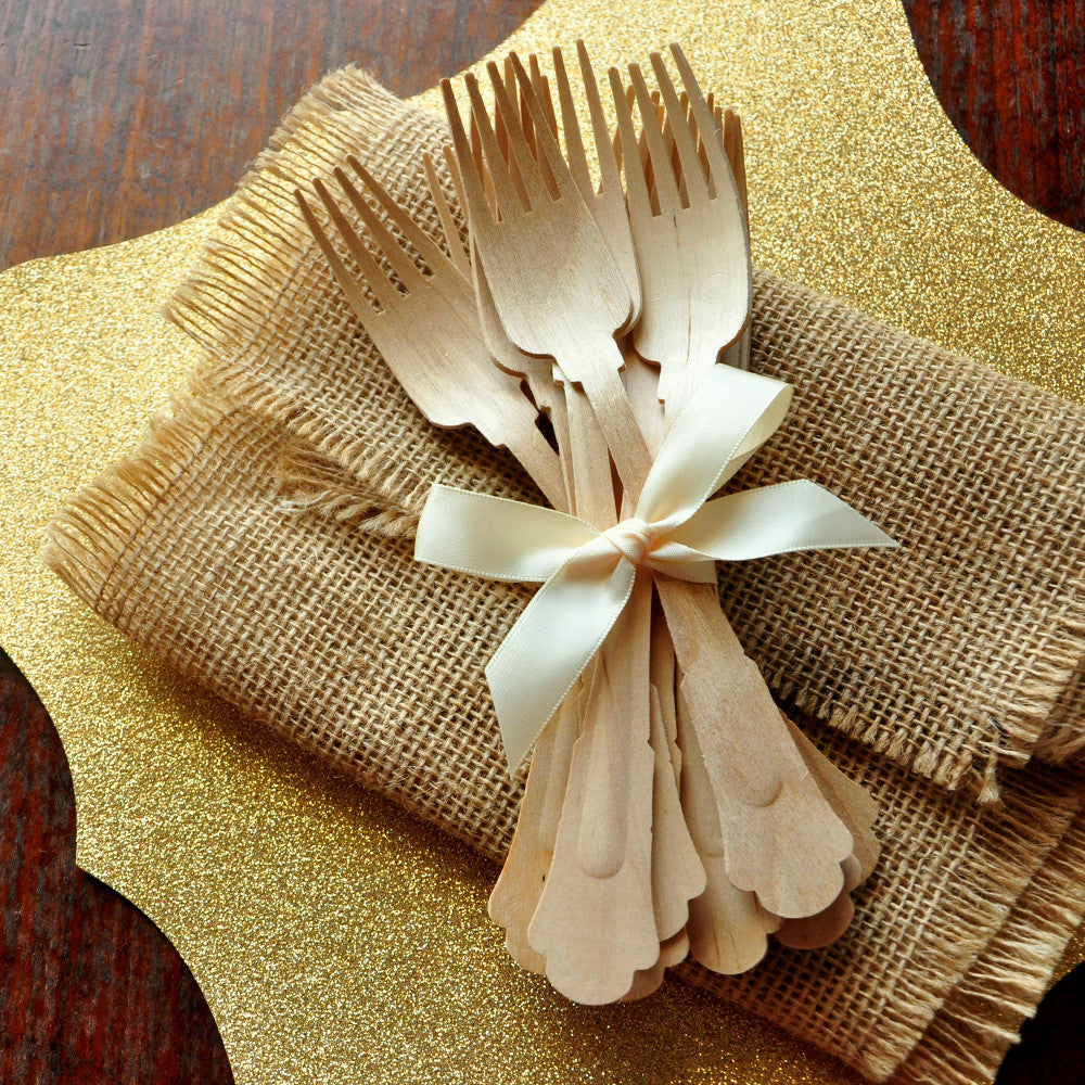 Wooden Forks for Wedding Tablesettings. Ships in 1-3 Business Days. Barouque Style Wooden Cutlery. Eco Friendly Party Utensils.
