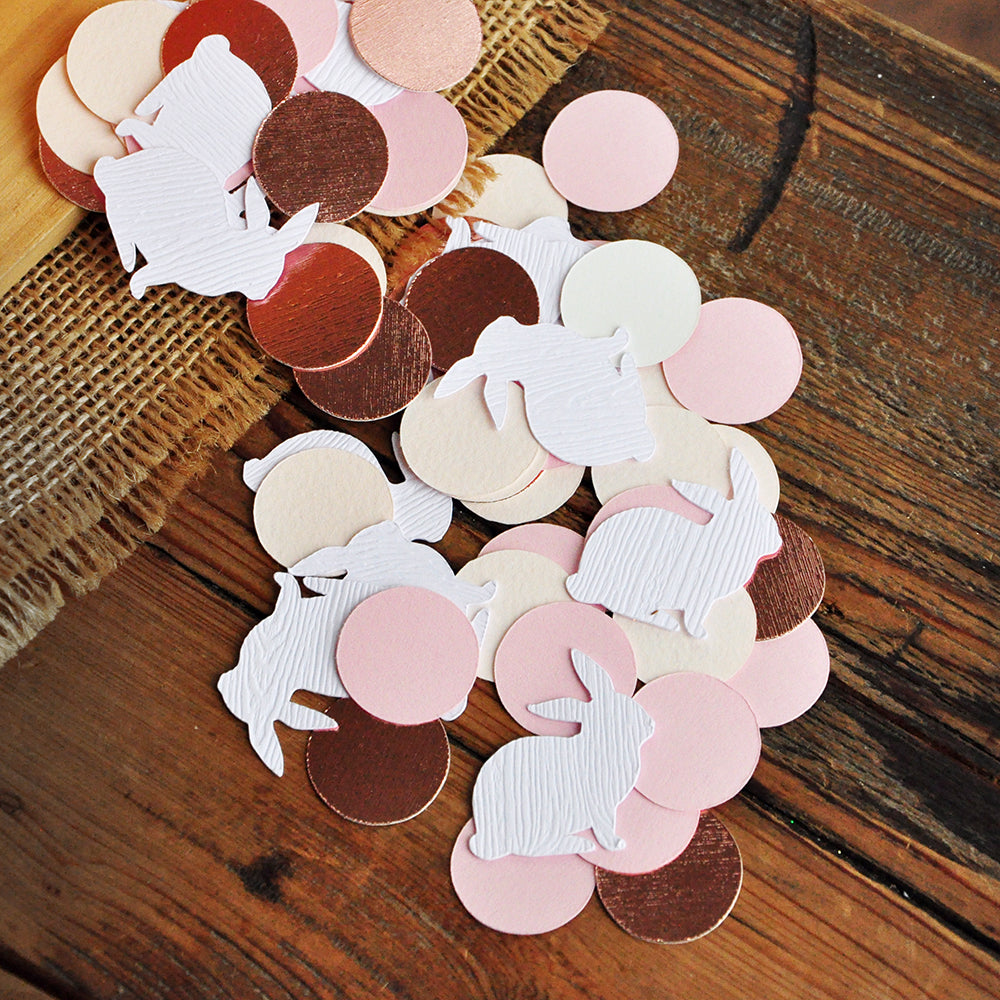Pink Bunny Decorations. Some Bunny is One Decor. White Woodgrain Bunny Confetti with Pink Circles.