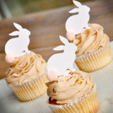 Some Bunny is One Cupcake Toppers 12CT.  Woodgrain Bunny Picks with Baby Pink Pom Poms. Bunny Cupcake Toppers.