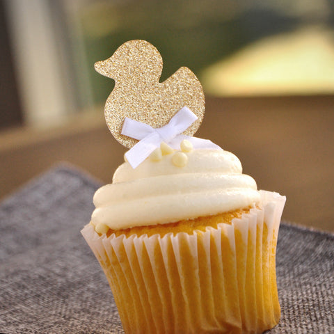 Gender Neutral Baby Shower Decorations. Gold Duck Cupcake Toppers 12CT.