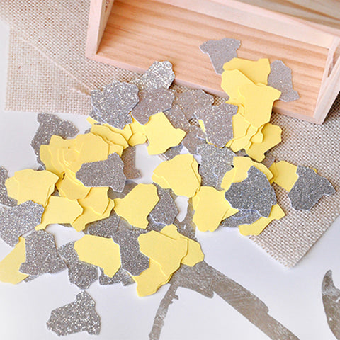 Gender Neutral Baby Shower Decoration. Ships in 1-3 Business Days. Yellow & Silver Onesie Confetti 50CT.