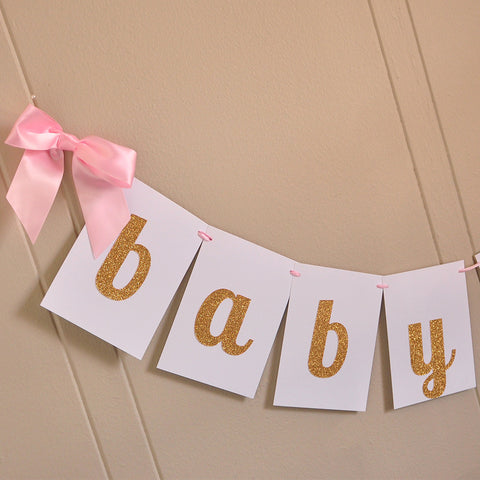 Baby Girl Banner. Ships in 1-3 Business Days. Baby Pink Party Decorations. Baby Shower Banner.