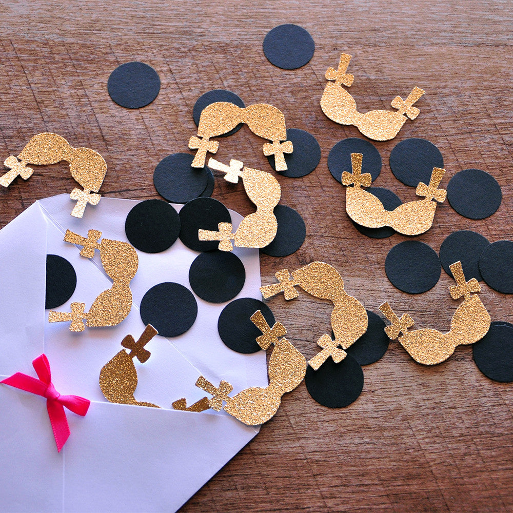 Bachelorette Party Decorations. Ships in 1-3 Business Days. Bra Confetti with Circles 50CT.