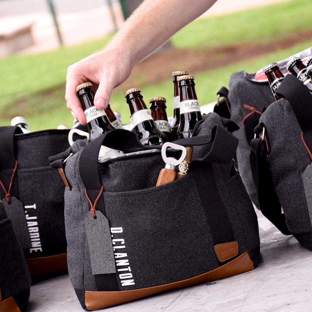 Pre-Order Only. Available Late-November. Personalized Groomsmen Gift (Qty. 1). Gray Cooler Bag with Strap. Groomsmen Cooler Beer Bag. Wedding Gift Bag. G12WC.