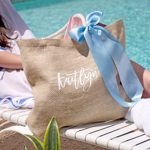 Pre-Order Only. Available Early December. Personalized Beach Bag for Bridesmaids (Qty. 1). Beach Tote Bag. Bridesmaid Beach Gift. Bridesmaid Gift Bag. Bridesmaid Beach Bag. C15BT.