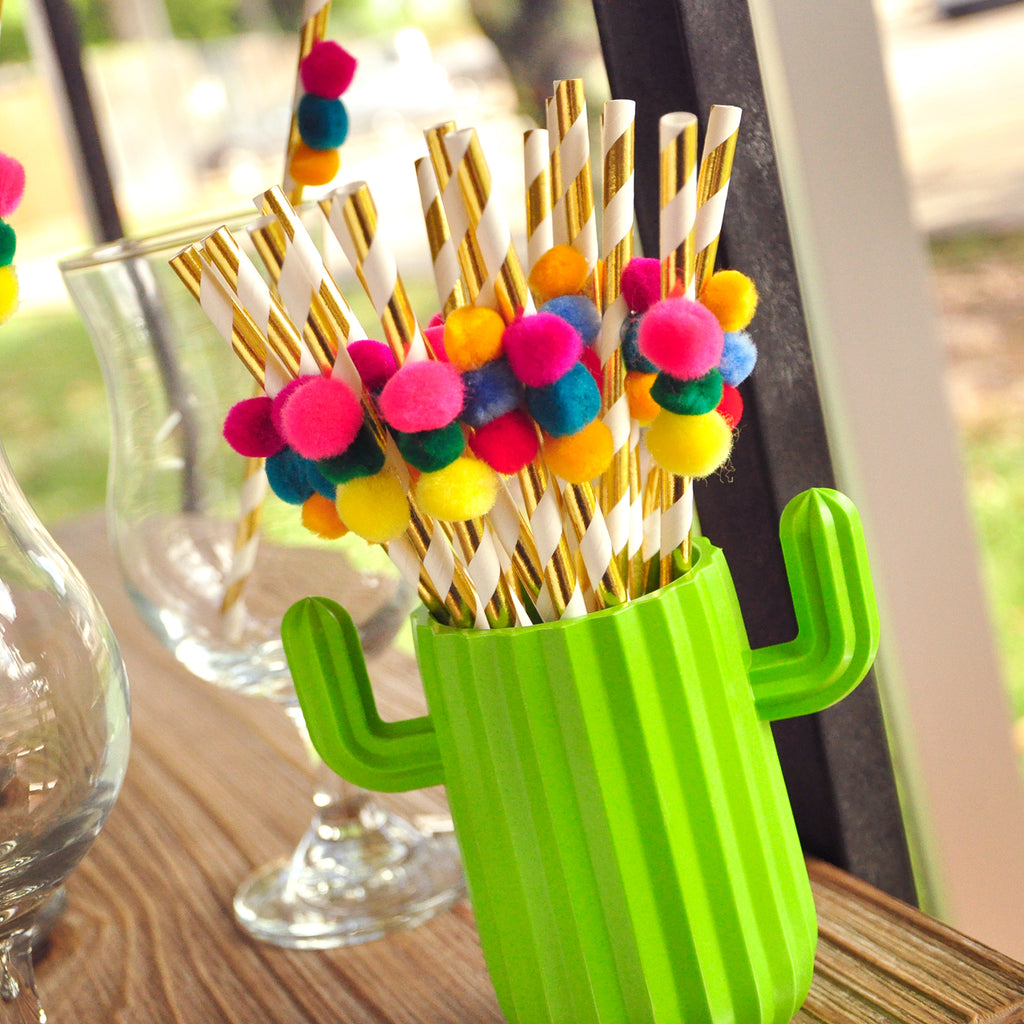 Pom Pom Fiesta Straws. (1 Set of 10 Straws). Fiesta Bridal Shower. Fiesta Decoration. Mexico Party Decoration.