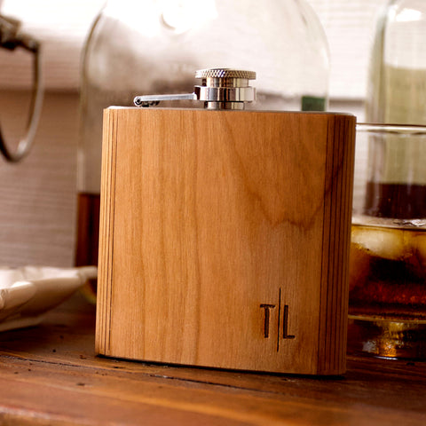 Custom Engraved Flask for Men. (Qty. 1) Gift for Man. Personalize Man Gift. Flask Stainless Steel and Wood. CH6FL.