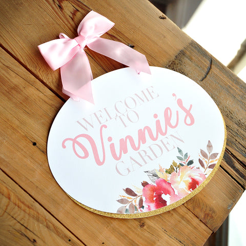 Some Bunny is One Door Sign. Garden Party Decorations. Personalized Birthday Sign.