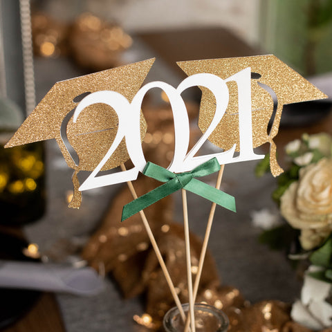 2021 Graduation Centerpiece. (1 Single 2021 Wand and 2 Single Grad Cap Wands).  Green Graduation Party Supplies. Handmade in 1-3 Business Days. Graduation Party Decor.
