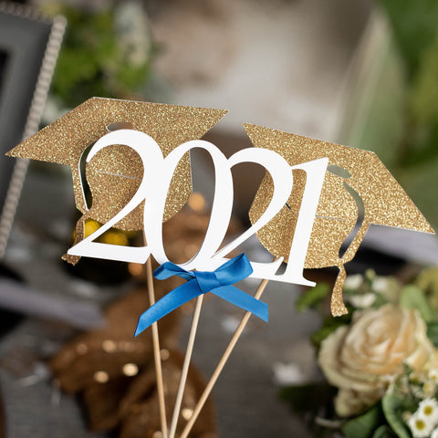 2021 Graduation Centerpiece.  (2 Single Graduation Cap Wands & 1 Single 2021 Wand) Set of 3 Sticks.  Royal Blue Graduation Decorations.  Handmade in 1-3 Business Days.  Graduation Party Decor.