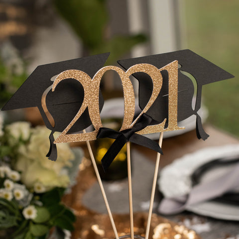 Graduation Party Decoration. (1 Single 2021 Wand, 2 Single Grad Cap Wands). Black and Gold Centerpiece for Graduation Party.
