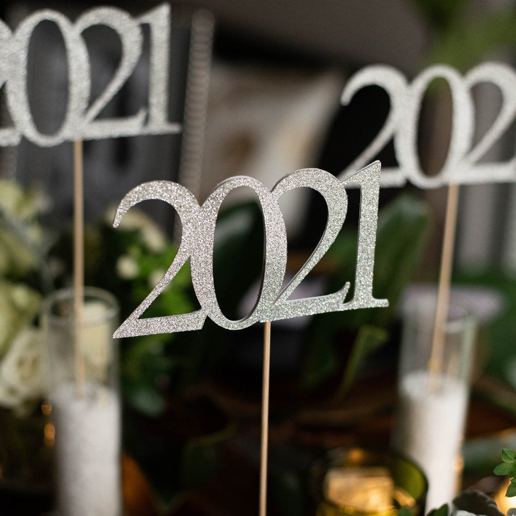 Silver 2021 Graduation Centerpiece Sticks. Crafted in 1-3 Business Days. Silver Graduation Centerpiece Ideas. (3 Silver 2021 Wands).