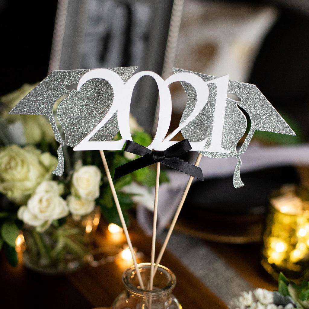 Graduation Party Decoration.  (1 Single 2021 Wand and 2 Single Grad Cap Wands).  White and Silver Centerpiece for Graduation Party.  Graduation Centerpieces.
