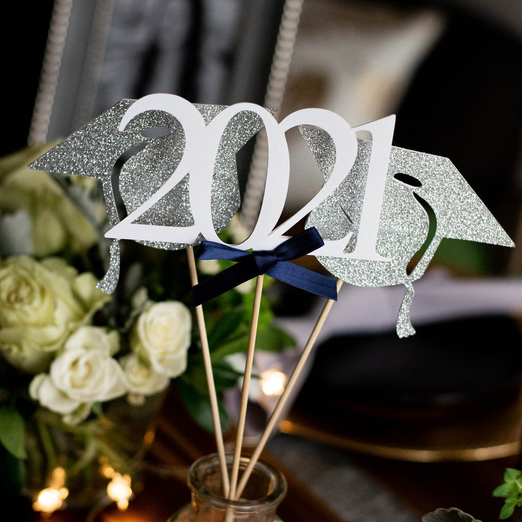 Navy 2021 Graduation Centerpiece. Handmade in 1-3 Business Days. Navy and Silver Graduation Decorations. (1 Single 2021 Wand and 2 Single Graduation Cap Wands).