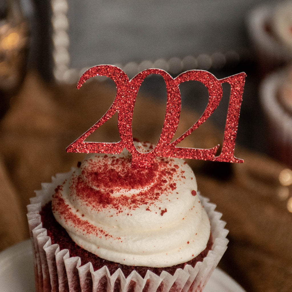 Glitter Red 2021 Graduation Cupcake Toppers. (1 Pack of 12) Made in 1-3 Business Days. Red Graduation Party Decor.