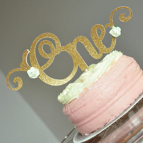 One Cake Topper With Flowers. Handcrafted in 1-3 Business Days. 1st Birthday Cake Topper. Smash Cake Topper.