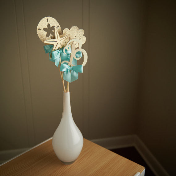 Under the Sea Party Decorations.  Ships in 1-3 Business Days.  Seashell Wand Centerpiece.  Beach Wedding.