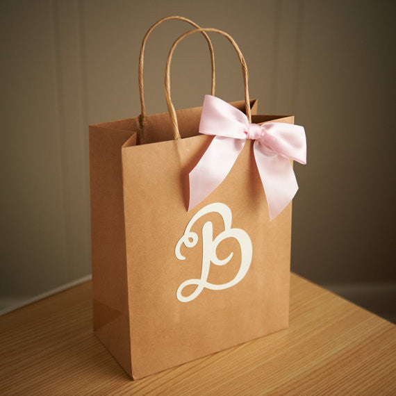Gift Bags for Wedding Guests.  Large Kraft Paper Bags with Handle.  Party Favor Bags. Br8KFT.