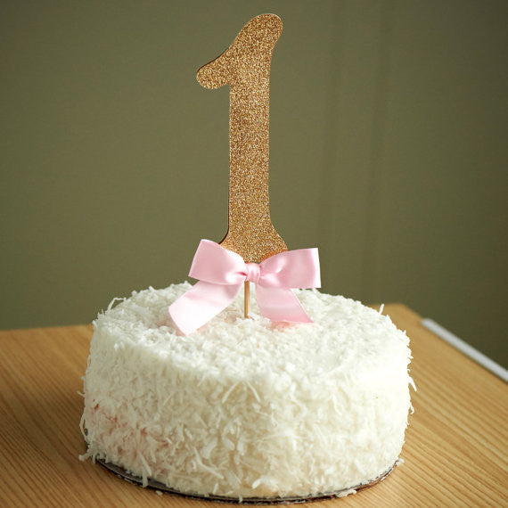 1st Birthday Cake Topper.  Ships in 1-3 Business Days.  Glitter Number Cake Topper.  Pink and Gold Party.