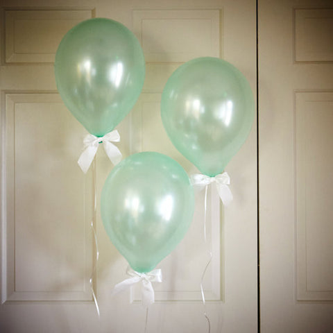 Mint Green Party Decor Balloons with Bows 8CT + Curling Ribbon.  Ships in 1-3 Business Days.