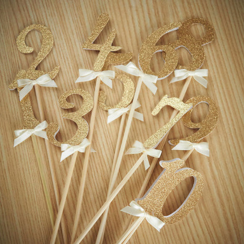 Table Numbers on Sticks.  Ships in 1-3 Business Days.  Glitter Number Centerpiece.