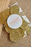 Gold Confetti Circles 1 Inch Pack of 50.  Ships in 1-3 Business Days.  Glitter Confetti Circles.