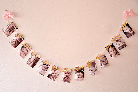 Monthly Photo Banner Pink And Gold 1st Birthday First Birthday