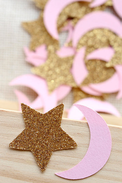 Party Decoration Glitter Gold or Silver 50 Ct. Twinkle Twinkle Little Star /& Moon Confetti Decor