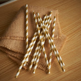 Gold Straws.  Gold Paper Straws.  Ships in 1-3 Business Days.  Striped Straws.  Party Straws 10CT.